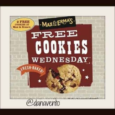 free cookie, max and ermas, food, dining, restaurants, dana vento, dining out, special