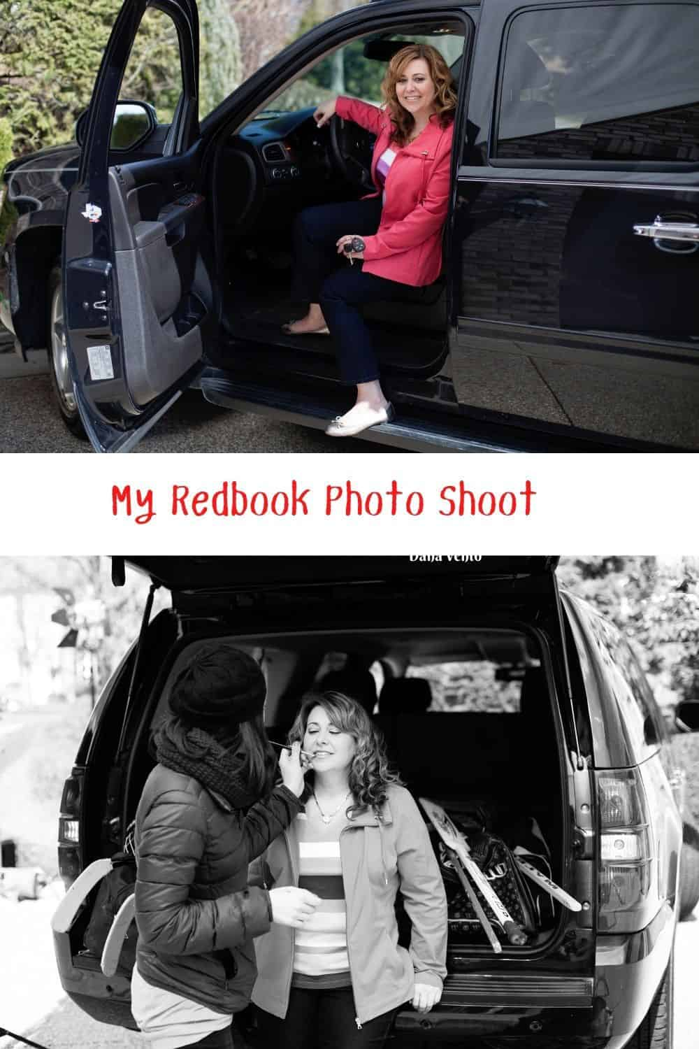 My Redbook Photo Shoot makeup and in car