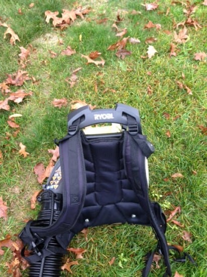 Ryobi Backpack Blower & Dana Vento, Ryobi Backpack Blower Sitting In Leaves, blower, outdoors, technology, appliance, outdoor work, yard, yard work, leaves, debris, dana vento,