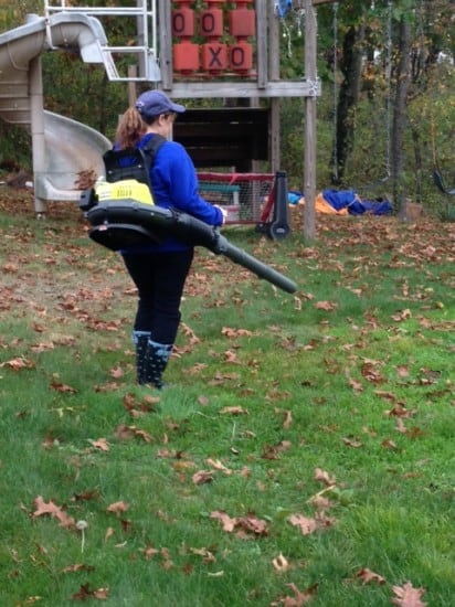 Cleaning up leaves with Ryobi BackPack Blower and Dana Vento, Ryobi Backpack Blower Sitting In Leaves, blower, outdoors, technology, appliance, outdoor work, yard, yard work, leaves, debris, dana vento,