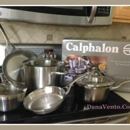 calphalon, contemporary stainless steel, food, kitchen, cooking, fast, dishwasher safe, sleek curved vessels, dishwasher safe, trip ply performance, stay-cool handle, dana vento