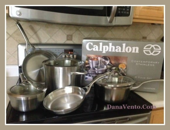 calphalon, contemporary stainless steel, food, kitchen, cooking, fast, dishwasher safe, sleek curved vessels, dishwasher safe, trip ply performance, stay-cool handle, dana vento, Culinary Daring With Calphalon