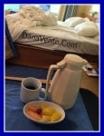 carnival sunshine, room service, food, dining, rise and shine, food to room, menu, dana vento