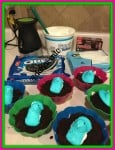 Easter Dessert, Peeps, cups, easy to make, easter dirt cups, food, foodie, oreo, whipped topping, pudding, peeps, dana vento, kitchen