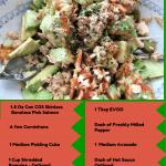 Low Carb Salmon Salad, Cornichons, Salmon, Avocado, salad, low carb, low carb salad, lunch, dinner, food, foodie, food blogger, dana vento