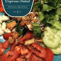due formaggi, two cheese, fresh mozzarella, gorgonzola, grilled peppers, crouton, roma tomatoes, basil, romaine lettuce, fresh milled pepper, cucumbers, food, foodie, food blogger, foodies, food creation, recipe, dana vento, due formaggi caprese salad with cucumber