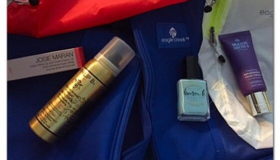 What To Pack In Your Toiletries Bag, travel, travel blogger, traveling, vacations, TSA, wipes, lips, hands, face, hair, nails, plane, train, car, automobile, trips, ad, Burt's Bees, Lauren B Beauty, Josie Maran, Philip B Haircare, Eagle Creek, Luggage, cosmetics, organization