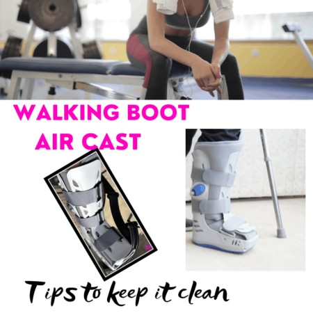 air cast or walking boot tips to keep it clean Gym and walking boot