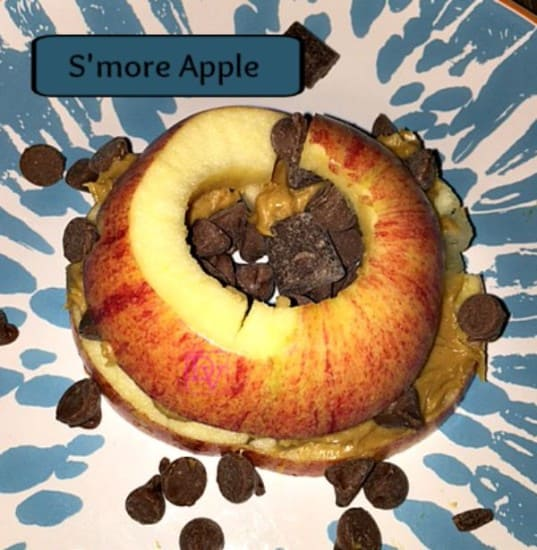 Smore Apple, Peanut butter, chocolate chips, food, food blogger, shamrock farms milk, protein snack, healthy snack, mom, dad, midday snacks, walmart, ad
