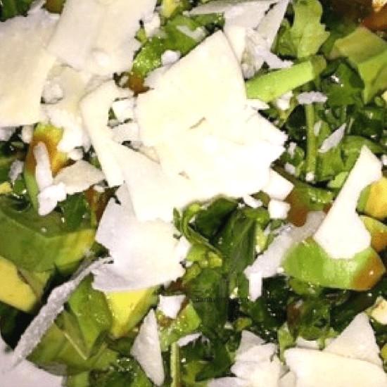 Arugula Avocado Salad With Parmesan Chards Recipe, Recipe, food, foodie, food blogger, arugula, frank's hot sauce, evoo, salt, pepper, salad, summer, fresh, cool, lchf, low carb, high fat, protein, healthy, dana vento