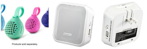 Bluetooth speakers, best buy, ad, wireless, tech, tech devices, plug in, shower, water resistant, beach, pool, bathroom, backpack, car, bag, brief case, purse, charging, usb, easy to port, best buy retailer, insignia, wireless, plug in, battery operated, charge battery, technology