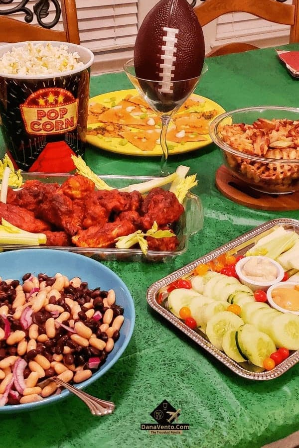Football table set up with snacks