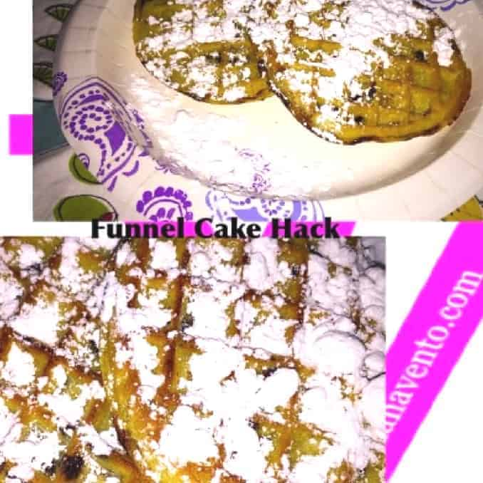 Funnel Cake, Funnel Cakes, FUnnel Cake Hack, Hacks, Food Hacks, Easy To Make, Waffles, How To, How To Make a funnel Cake Hack, food, foodie, food blogger, travel blogger, homemade, easy to make, recipe, recipes, food that tastes like funnel cake, funnel cake not fried, baked, toasted, toaster, reuse, sweet, confectionery sugar, frozen waffles, paper plates, serve warm, dana vento