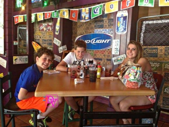 My kids ready to enjoy the best nachos in Myrtle Beach