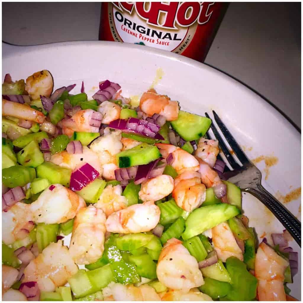 zesty lime shrimp salad, shrimp salad, shrimp, zesty lime, red onion, red hot original, chopped, meatless, food, food blogger, foodies, celery, zesty, tasty, seafood, quick, ingredient, recipe, recipes, ingredient list, dana vento
