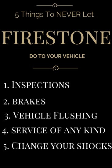 Firestone, firestone scam, firestone aftermarket brakes, firestone shocks, firestone against women, firestone employee, inspections, scams, emissions, PA inspection, laws, regulations, bait and switch, choices, cars, vehicles, dealers, scam artists, women strong, expert, lifestyle expert, dana vento