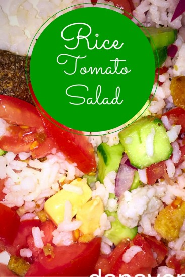 rice, salad, tomatoes, cucumbers, croutons, easy to make, recipe, food, foodie, food blogger, dana vento, easy to make, food preparation