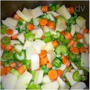 Holiday Hangover Soup, veggies, celery, onions, carrots, peas, corn, barley, potatoes, holidays, friends, bloating, stomach, fridge, refrigerator, cooking, recipe, food, food blogger, recipes, diy, holiday cooking