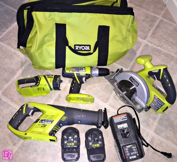 Top 4 Power Tools, RYOBI, RYOBI POWER TOOLS, 18V, reciprocating saw, drill, worklight, batteries, bag, lightweight, diy, home diy, easy to use, fast charging, lightweight to carry, home, diy, diy him, diy her, bright bag, kitchen, house, electric free, no cords, cordless, power, bathroom, den, family room, attic, basement, use anywhere, dana vento, diy blogger dana vento, ad, RYOBI 18V ONE+ 4 Piece Super Combo Kit