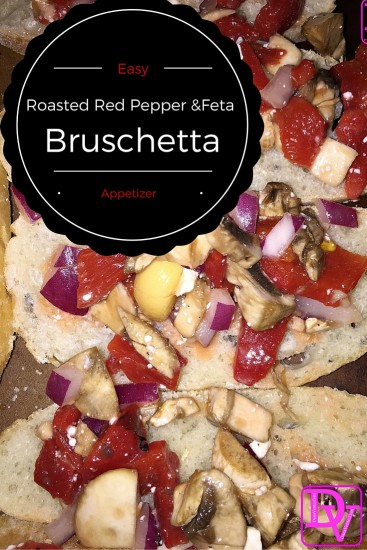 bruschetta, red onions, antipasti, olive oil, roasted red pepper, red pepper, red peppers, roasted red peppers, feta, mushroom, sliced mushroom, oven, baked, garlic, salt, pepper, appetizer, food, food blogger, foodie, dana vento, dana vento food blogger, Red Pepper and Feta Bruschetta, meatless, meatless appetizer, vegetarian appetizer, all veggies, bread with vegetables, toasted bread with vegetables, vegetarian recipe, no meat, meatless recipe, meatless mondays, party food, easy party food.