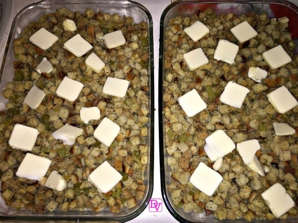 bread, celery, onion, poultry seasoning, outside bird, bread cubes, herbed bread cubes, cooked, baked, easy to make, recipe, food blogger, dana vento food blogger, diy, thanksgiving, new year's, christmas, stuffing, stuffing recipe, easy stuffing, fast stuffing, bake in oven, classic stuffing, easy classic stuffing, bird, turkey, chicken, pork