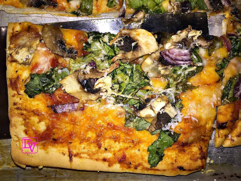 Veggie Pizza With Dandelion Greens