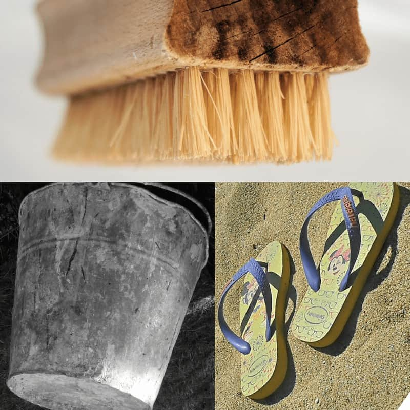 Fall Flip Flop Clean Up with Brushes and buckets