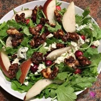 Pear, Arugula, Pear Arugula, Pear Arugula Salad, Gorgonzola, Gorgonzola Cheese, Candied, Candied Walnuts, Recipe, recipes, California Walnuts, California, Walnut, Walnuts, California Walnut, Protein, healthy, fitness, diet, food, salad, cranberries, salt, pepper, how to, Pear Arugula Salad with Candied Walnuts, Pears, Pear, Fruit, meatless, vegetarian, wholesome, holidays, holiday, holiday recipe, holiday recipes, cooking, kitchen, food blogger, dana vento, ad
