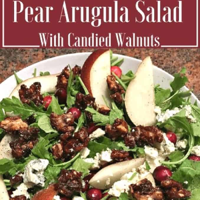Pear, Arugula, Pear Arugula, Pear Arugula Salad, Gorgonzola, Gorgonzola Cheese, Candied, Candied Walnuts, Recipe, recipes, California Walnuts, California, Walnut, Walnuts, California Walnut, Protein, healthy, fitness, diet, food, salad, cranberries, salt, pepper, how to, Pear Arugula Salad with Candied Walnuts, Pears, Pear, Fruit, meatless, vegetarian, wholesome, holidays, holiday, holiday recipe, holiday recipes, cooking, kitchen, food blogger, dana vento