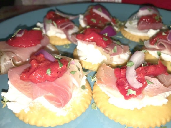 Take it to the house, Score with your biggest fans, Prosciutto With Italian Inspired Ricotta Spread Appetizer, appetizer, recipe, recipes, food blogger dana vento, foodie, food blogger, easy to make, football, football snack, recipe for football snack, homegating, super bowl, celebration, armchair coaches, foods, eating, dining, snacks, easy foods, hand foods, crave, prosciutto, cheese, ricotta, parmesan, peppers, red onions, RITZ crackers, fast, fun, delicious, italian inspired, cook, prepare, create, ad,