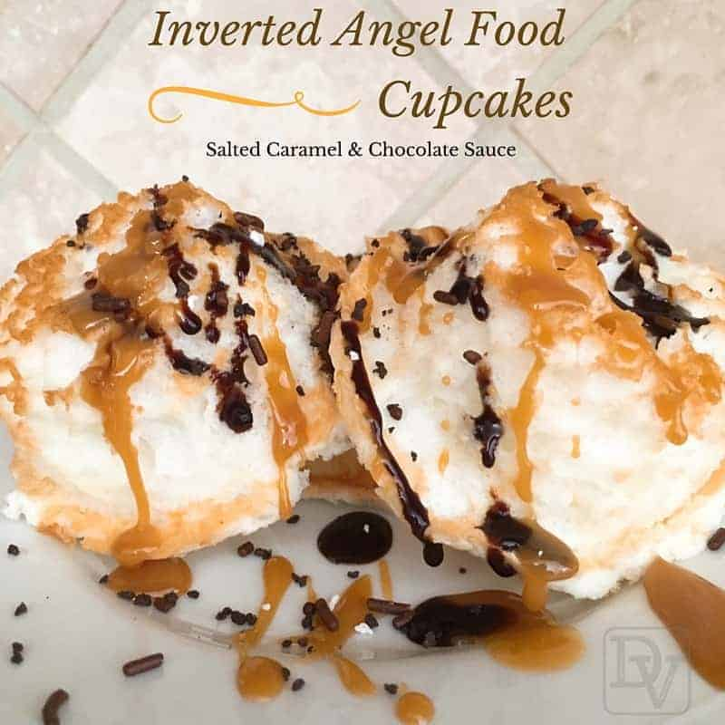inverted angle food cupcakes with salted caramel and chocolate sauce