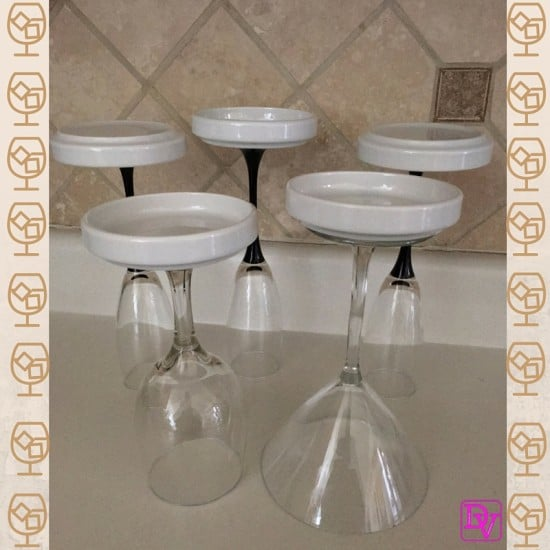 stemware, barware, drinks, glasses, martini, margarita, wine, champagne, fluted glasses, display glasses, stemware hack with barware, display glasses, cabinet, reuse, new use, diy, simple, easy, creative, dana vento