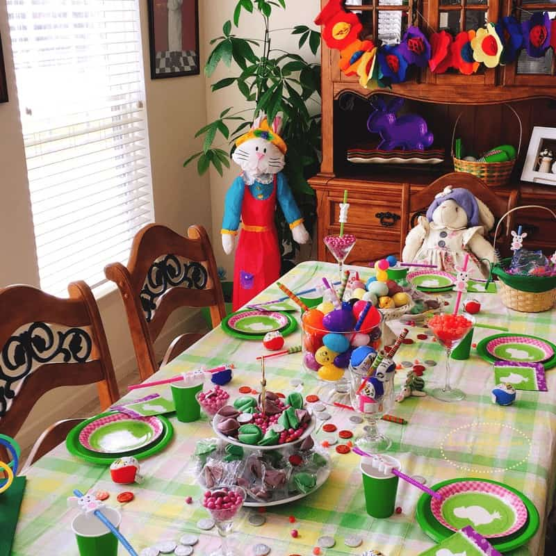 Easter Party Ideas with a table dressed up