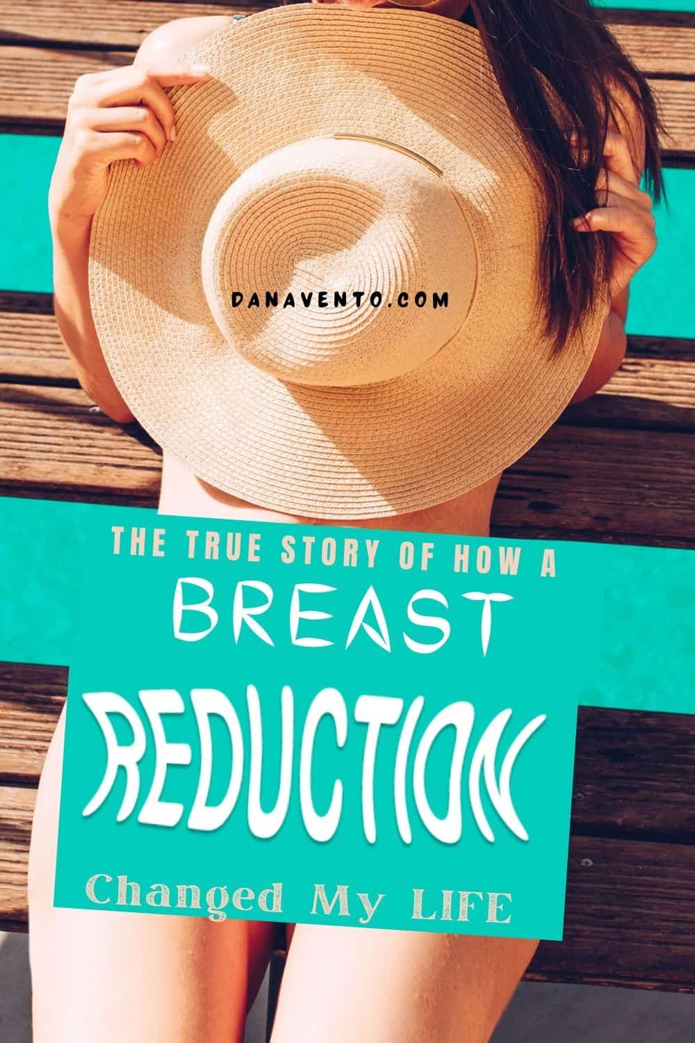 Sitting with a beach hat covering breasts a breast reduction changed my life