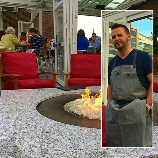 Poached Atlantic Cod adirondack potatoes, lemon confit, curried lobster chowder, cracked pepper, prince of providence, the rosendale, lobster fettucine brunch, Chef Robert, Rooftop at the Providence G, 7 stories up, firepits, wood oven pizza, views, nightlife