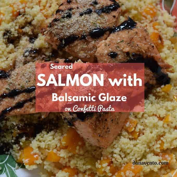 Seared Salmon With Balsamic Glaze and Confetti Pasta