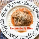 escarole, rice, garlic, sauce, cooking, fast cook, simmer, italian dish, fresh, fresh parmesan, cooking, foodie, foods, easy to make, recipe, recipes, fast recipe, grains, rice, escarole, sauce, easy to whip, dana vento foodie,