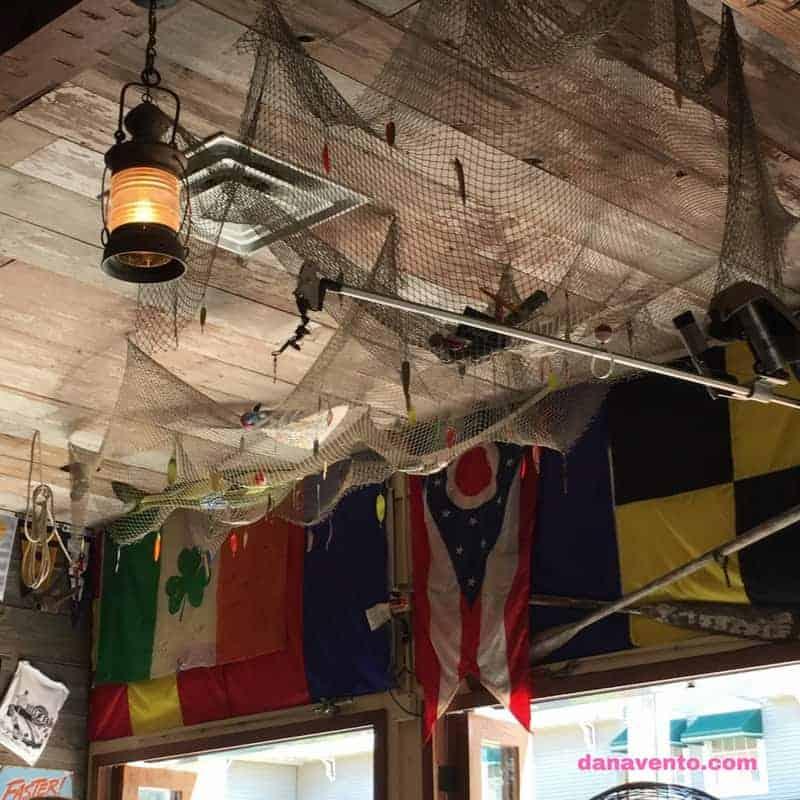 Reel Bar in Put In Bay. Ceiling of fishermen's' net