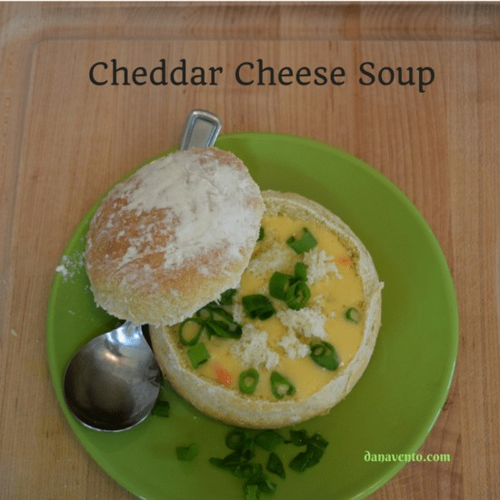 CHEDDAR CHEESE SOUP IN BEER BREAD BOWL