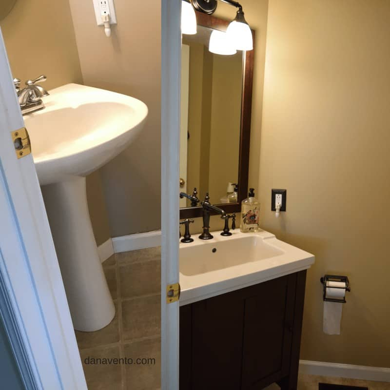 Before and After Sink Installation. Half bath remodel DIY
