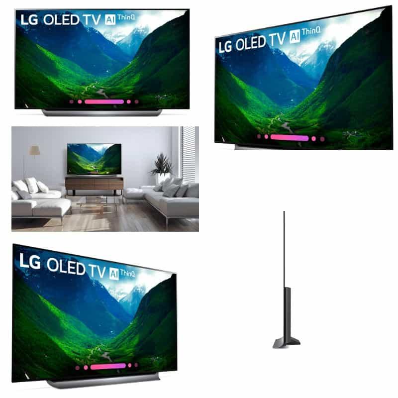 Collage of flatscreen TV at various angles