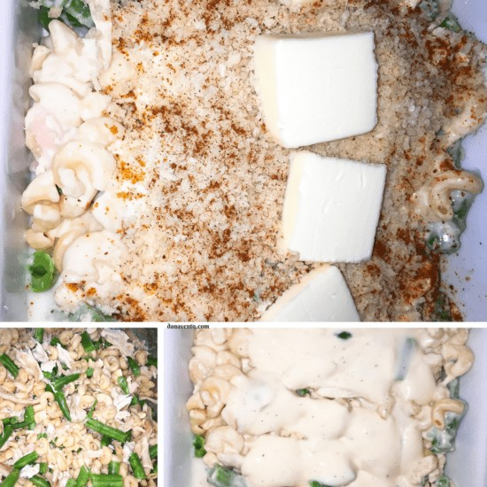 Panko Topped Roasted Chicken Alfredo Bake, bake, alfredo, alfredo sauce, chicken, roasted chicken, noodles, sauce, water, green beans, panko topping, butter, easy dinner, leftover uses, baking, homemade, recipe, recipes, diy, cooking, kitchen, weeknights, leftovers during week, casserole, bake in oven, recipe, Panko ToppedRoasted Chicken Alfredo Bake