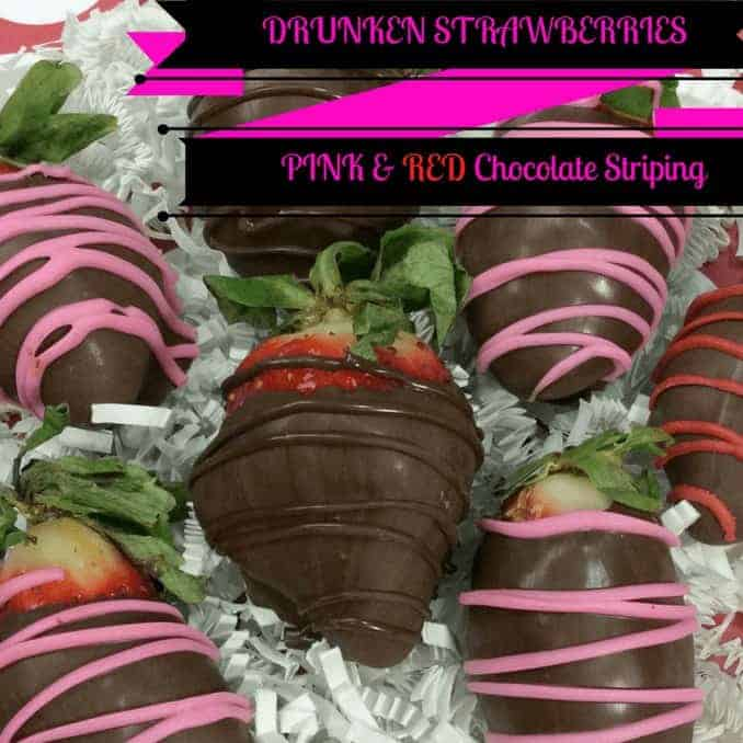 Drunken Strawberries With Pink and Red Chocolate Striping