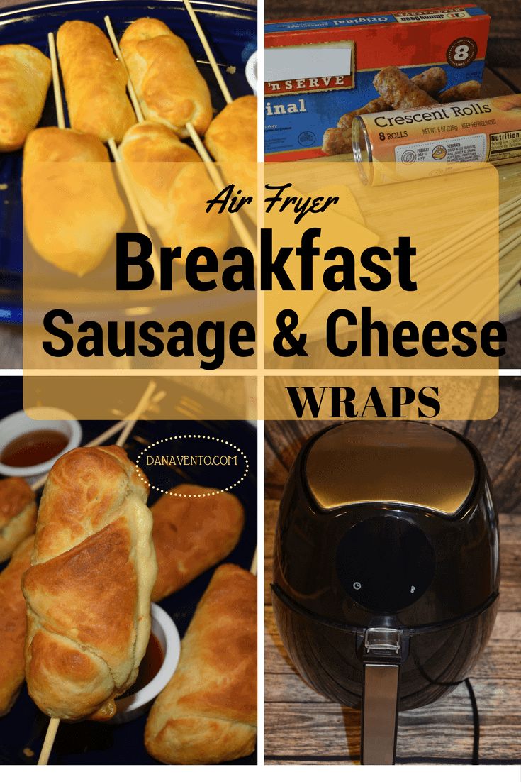 air fryer, air fryer recipe, recipe, recipes, easy to make, breakfast, breakfast on a stick, sausage, cheese, dough, air frying, cooking, homemade, kitchen appliance, how to video, step by step, food, food blog, food writer, easy to make, meals, fast, efficient, plug in and go, air fryer breakfast sausage and cheese wrap on a stick,