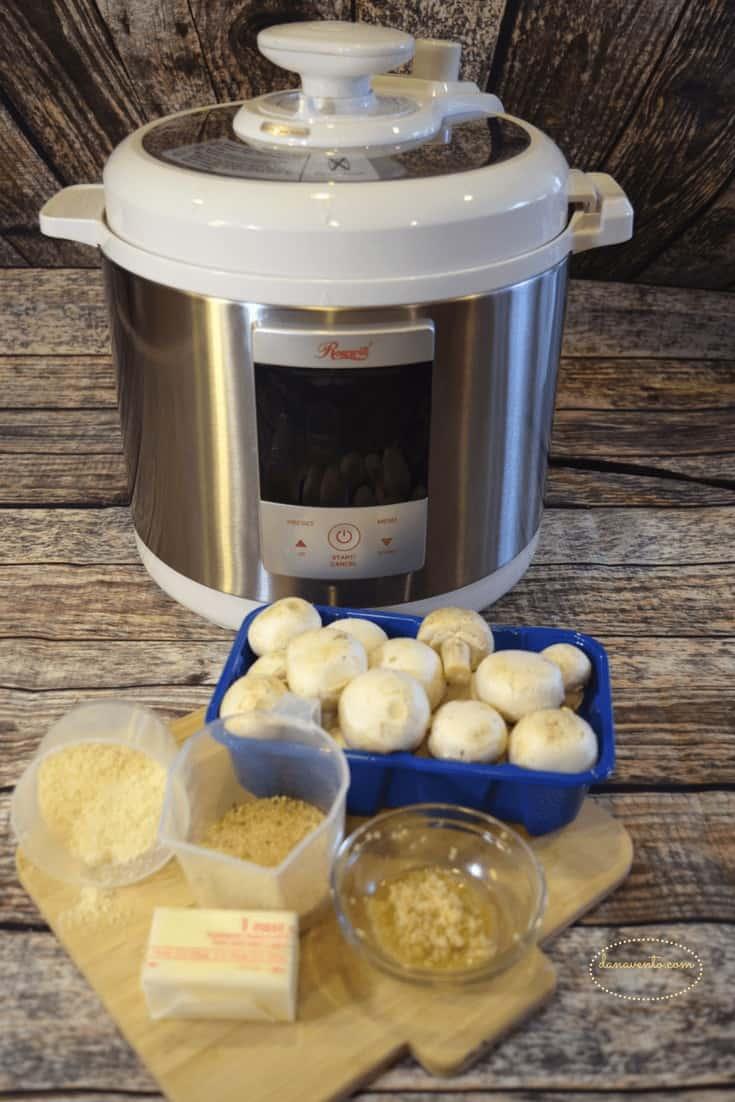 mushrooms, pressure cooker parmesan mushroom buttons, picks, cheese, mushrooms, butter, easy, fast, recipe, video how to, video recipe, recipe, recipes, parties, foods, foodies, mushroom is meatless, meatless food, meatless appetizer, vegetable, food blog, pressure cooker recipe, dana vento