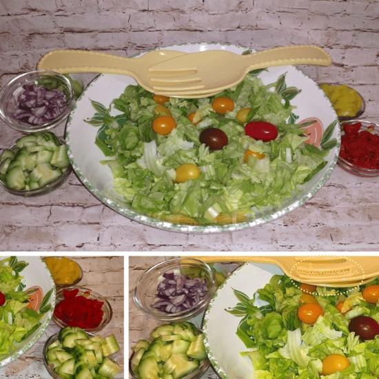 My Big Italian Salad Recipe, Romaine, Boston Leaf, Pepper Rings, croutons, spice, salt, pepper, tomatoes, red onions, salads, Italian, chopped, sweet, good, vinegar, oil, fresh, sides, dressing, easy, weekly, vegetables,