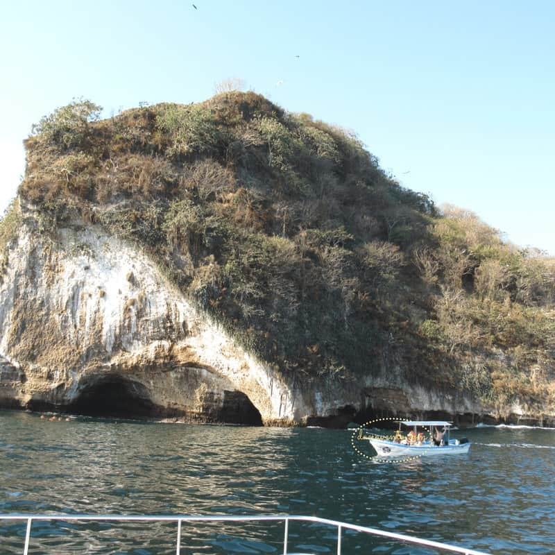 Very busy cove another boat to the right of our bough. snorkeling Los Arcos In Puerto Vallarta