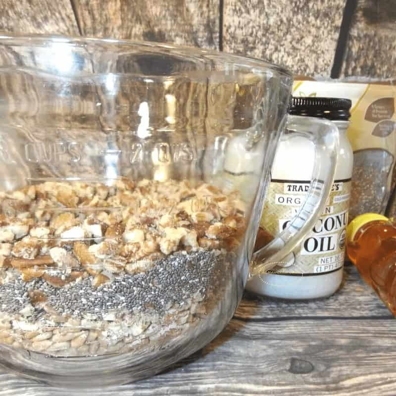 chia,nuts, almonds, pecans, coconut oil, parchment paper, sunflower seeds, chia seeds, healthy, protein packed, snacking, healthy snacking, good eats, food, foodie, food, recipe, recipes, food by dana, bake, toaster oven recipe, easy, fast, baked, homemade, food with protein, healthy fats