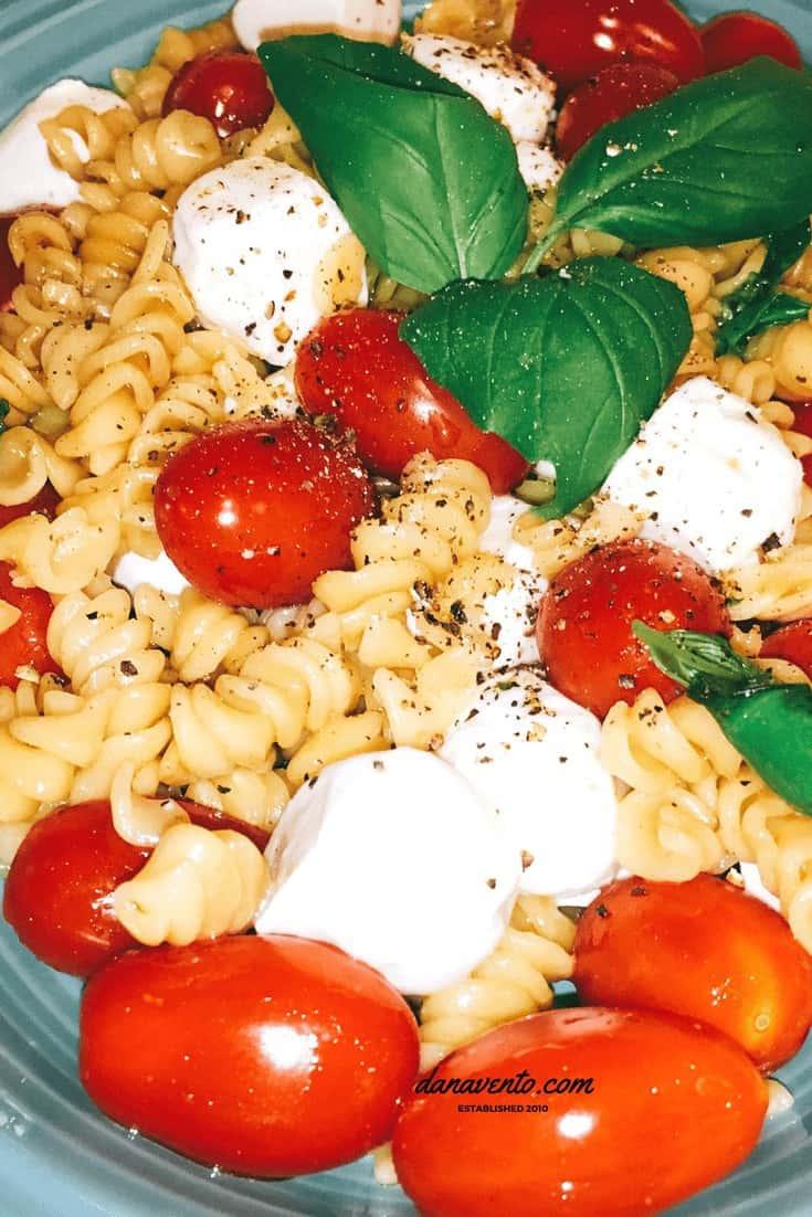 Close up image of Caprese Pasta Salad