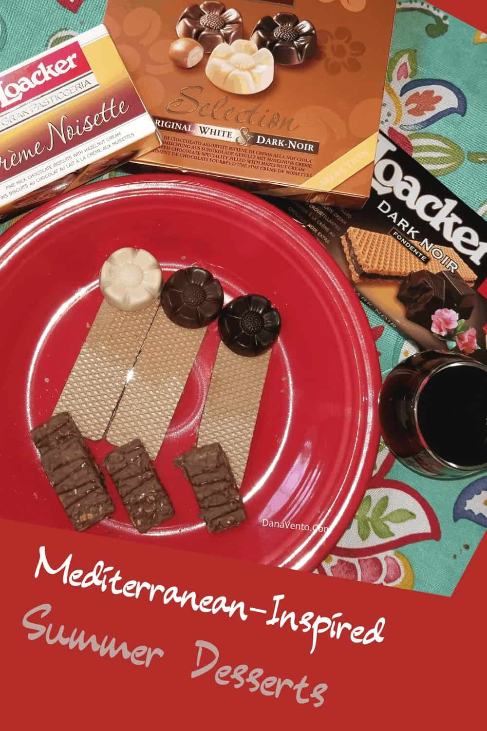 Chocolate on dessert platter with wafers